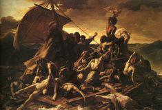 Vlot van Medusa, door Theodore Gericault. Romantiek. Sterk licht-donker effect, dynamische compositie.
