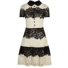 Red Valentino Two-Tone Lace Dress (1,495 CAD) ❤ liked on Polyvore featuring dresses, red valentino, lace dress, 2 tone dress, two-tone dress and lacy dress