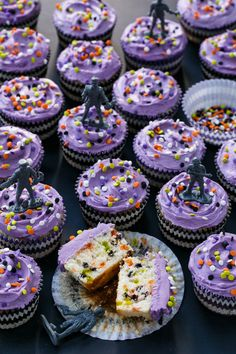 Halloween-Themed Confetti Sprinkle Cupcakes with Zombie Cupcake Toppers from @loveandoliveoil