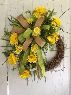 Spring Wreath  Front Door Wreaths  Summer by GraceMonroeHome