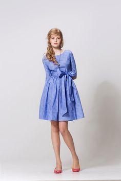 1950s dress 50s dress Blue dress Pinup dress Party dress Fit and flare Full skirt dress Womens dresses Ladies dress Handmade dress