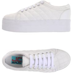 Jc Play By Jeffrey Campbell Sneakers (265 BRL) ❤ liked on Polyvore featuring shoes, sneakers, white, jeffrey campbell footwear, round toe sneakers, quilted sneakers, jeffrey campbell flatforms and flatform shoes