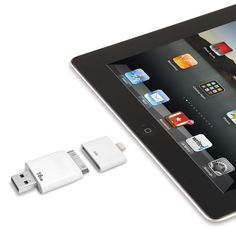 This is the only flash drive that enables you to transfer or view files from a computer on an iPad or iPhone. The device plugs into a Mac or PC's USB port, holds up to 16 GB of documents, photos, videos, or music, and connects to an iPad or iPhone, allowing you to transfer the files or simply view or listen to them on the mobile device.