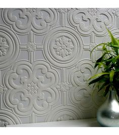 Egon Paintable Textured Vinyl Wallpaper.  Would even be pretty in a frame.
