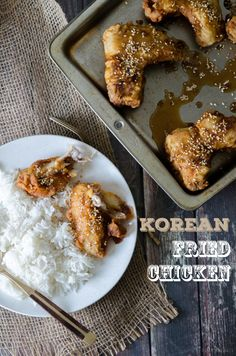 Korean fried chicken Korean Fried Chicken, Fried Chicken Wings, Vietnamese Recipes, Korean Food, Kimchi, Fries, Asian, Dishes, Cooking