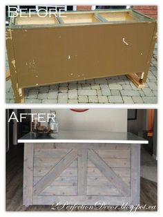 How to make an old cabinet base into a rustic style bar or kitchen island. Love this restoration!