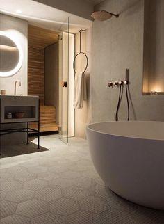 hotel bathroom Piet Boon by COCOON copper d - hotel Spa Bathroom Design, Zen Bathroom, Grey Bathrooms, Bathroom Wall Decor, Bathroom Interior, Small Bathroom, Spa Design, Design Hotel, Bathroom Ideas