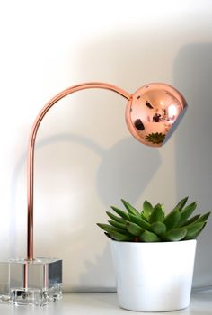 Creating a stylish home office using copper and indoor plants - love this lamp and how stylish it looks on the desk. http://mummyofboygirltwins.com/our-home/a-stylish-little-table-lamp/