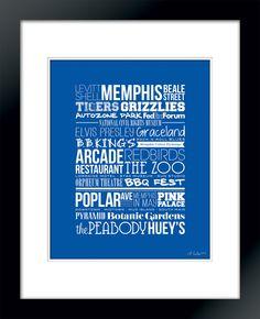 City Typography Prints: Memphis Places (Blue). $16.00, via Etsy.