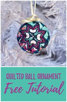 Quilted Ball Ornament - Free Tutorial with Mister Domestic Quilted Christmas Ornaments, Fabric Ornaments, Christmas Sewing, Christmas Fabric, Christmas In July, Ball Ornaments, Christmas Balls, Christmas Crafts, Diy Ornaments