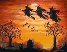 Folk Art Halloween Three Witches Flying Over Cemetary Rust Colors Retro Halloween, Halloween Chat Noir, Halloween Prints, Halloween Pictures, Happy Halloween, Scary Halloween, Halloween Costumes, Samhain Halloween, Holidays Halloween