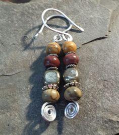 Jasper and pyrite earrings