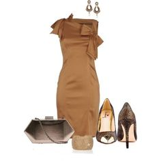 Camel dress with sparkling chocolate pumps