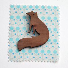 Vixen Fox Brooch. Walnut wood Fox Badge.