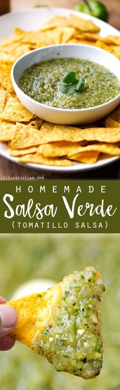 Homemade Salsa Verde (Tomatillo Salsa) - a classic restaurant favorite that's easy to make at home. My salsa verde tastes better than your favorite Mexican Restaurant! #salsa #salsaverde #tomatillosalsa | Littlepsicejar.com