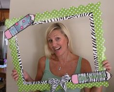 "piece of foam board, cut out the middle and attached 2 different bulletin board borders to it. I printed the ""first day"" & ""first grade"" pencils on card stock. Then I attached them & a cute zebra bow - TaDa! Less than 30 minutes from start to finish."