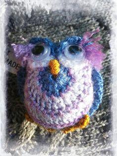 """Polly Purple"" crochet owl keyring made by Ella Blue"