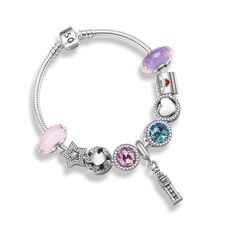 Pandulaso Forever Love Good mood Glass Beads Bracelet Women 100% 925 Sterling Silver Fashion Jewelry For Women Wholesales