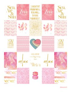 FREE printable stickers with a pink and gold theme by LilyBeaches