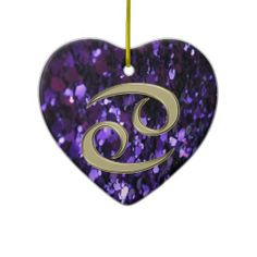 Gold Zodiac Sign Cancer on Purple Glitter Ornament   #Cancer #zodiac #Christmas    $21.95