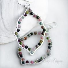 Watermelon Tourmaline on Sterling Silver Moroccan Shapes -  Wire wrapped artisan earrings