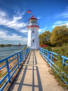 Cheboygan Crib Lighthouse, at the mouth of the Cheboygan River into Lake Huron, Michigan by Dave Morgan