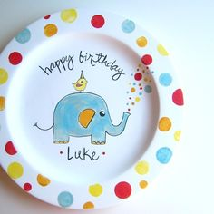 The Elephant Birthday Personalized Large Plate by AedrielOriginals, $45.00