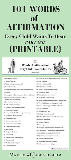FREE PRINTABLE! A great list (part 1 of 2) of positive affirmations for kids of all ages.