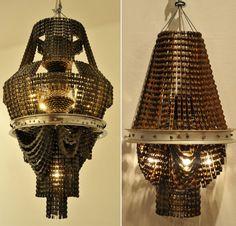 Bike chain chandeliers made by Carolina Fontoura