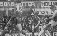 Everton 2 QPR 1 in March 1979 at Goodison Park. Bob Latchford opens the scoring for Everton in the Division 1 clash.