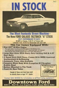 427 Galaxie advertisement #mustangvintagecars
