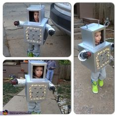 Krista: My 3 year old son; he wanted to be a robot! 2 cardboard boxes, spray paint, hot glue, super glue, closet door hardware, wires, spiral wires, nuts, light up boots,...