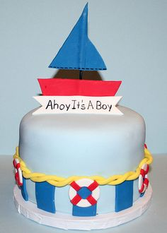 Ahoy It's A Boy Cake.  Learn How to Decorate Cakes - Visit Online Cake Decorating Classes on http://CakeDecoratingCoursesOnline.com