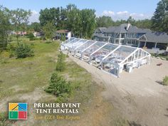 Great drone shot in Brighten! There's something about beach weddings.. premiereventtent.ca