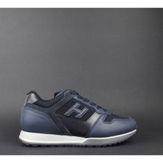 Hogan   Sneakers H321 Uomo Pelle Tela Blu H 3D Prezzo 290 a16835cea65