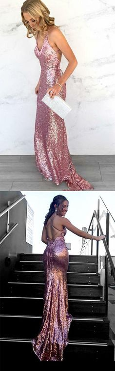 Sexy Spaghetti Straps Mermaid Long Sequins Prom Dress Evening Dress #sequin #mermaid #long #evening #party #okdresses
