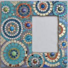 "Handmade Glass Mosaic Photo Frame 12"" x 12"" for picture size 5""x7"". $80.00, via Etsy."
