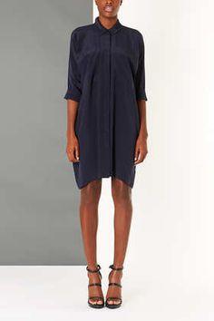 silk shirt dress.