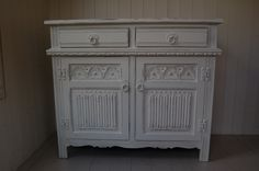 Old Charm Dresser/Sideboard.. Hand painted and distressed in F&B, Strong White www.peelingpaint.co.uk