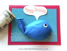 diy whale birthday balloon card - way to cute - a must make! Whale Birthday, Diy Birthday, Handmade Birthday Cards, Happy Birthday Cards, Birthday Balloons, Kids Cards, Cute Cards, Creative Cards, Homemade Cards