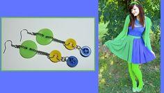 Fresh summer dangle earrings Bright Retro Green by BodyBuzzz