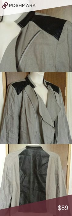 I.N.C. plus stylish linen jacket with faux leather 100% linen coat, very fashionable! Fly away front with zipper track details on each side, faux leather panel down back, at shoulders and around stand up collar. Meant to be worn open there are no front closure. Lapels turn into a fabric cascade down the front. Never worn, NWT. INC International Concepts Jackets & Coats