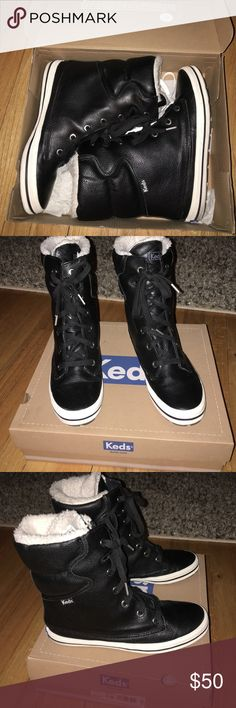 Sneaker/Boots Black n White Boots by Keds! Worn 1x, aren't they cute!?! Dare to be different...Y not shop in my closet!! Keds Shoes Sneakers