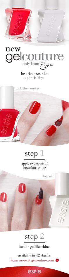 Start by cleansing the nail with polish remover. No base coat needed. Step Apply 2 coats of luxurious gel couture nail polish color in. Allow 60 seconds to dry between coats. Step Seal with gel couture top coat for flawless gel-like shine. No UV or L Do It Yourself Nails, How To Do Nails, Cute Nails, Pretty Nails, Hair And Nails, My Nails, Nail Polish Colors, Couture, All Things Beauty