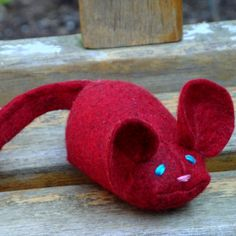 Ruby the Mouse wool blend felt catnip cat toy. $5.00, via Etsy.