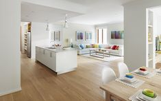i like the light contemporary feel of this colour pallette with the wooden floors
