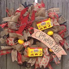 Wreath, Cajun, Crawfish Boil Wreath by Ladybug Wreath Designs Shrimp Boil Party, Crab Party, Crawfish Party, Crawfish Season, Seafood Party, Lobster Party, Cajun Boil, Crab Boil, Fish Boil