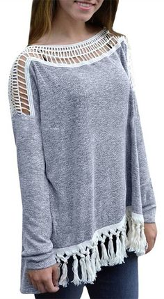 Tassel Long Sleeve Lace Sweatshirt top and bottom with cotton lace trim. gauze?