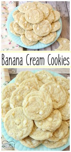 This Banana Cream Cookies recipe incorporates banana pudding mix & a banana into delectable cookies! Simple recipe for soft, flavorful & perfectly sweet cookies that everyone loves. Easy pudding cookie recipe from Butter With A Side of Bread Instant Pudding, Köstliche Desserts, Dessert Recipes, Coconut Desserts, Salad Recipes, Chocolate Chip Cookies, Banana Pudding Cookies, Chocolate Pudding, Lemond Curd