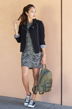 Athleisure goes dressy: Feeling dressy? If you love to bare your legs but also want to keep your feet happy, try pairing a sleek jersey dress in a fun space-dyed fabric with your favorite sneakers.